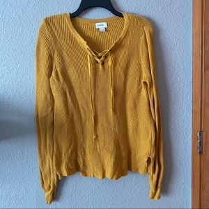 Yellow Old Navy Lace Up Sweater